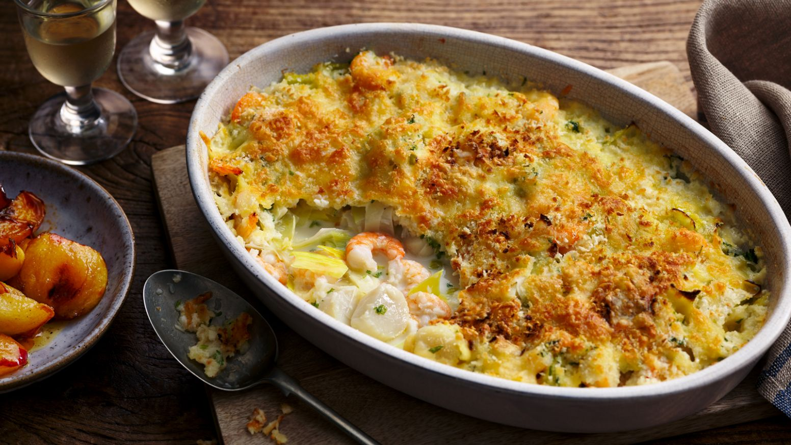 Seafood gratin with caramelised apples - Recipe Fish Gratin