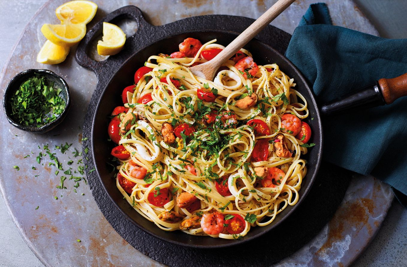 Seafood linguine - Recipes Fish Pasta