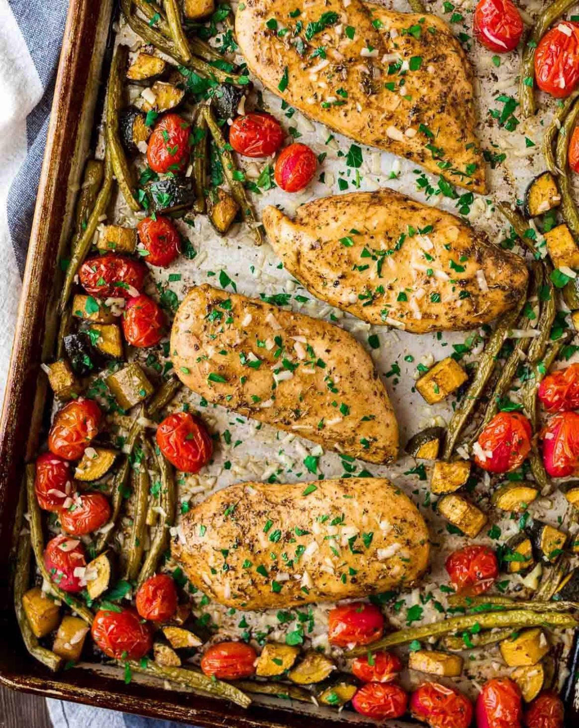 Sheet Pan Italian Chicken and Vegetables - Recipe Chicken Breast Tomatoes Peppers