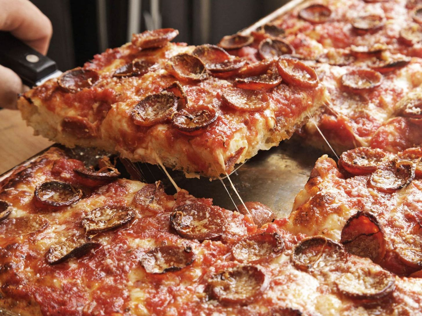 Sicilian Pizza With Pepperoni and Spicy Tomato Sauce Recipe - Pizza Recipes Serious Eats