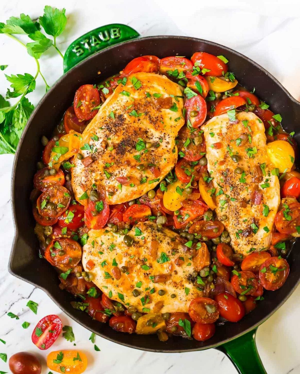 Simple Chicken and Tomatoes Skillet with Garlic and Capers