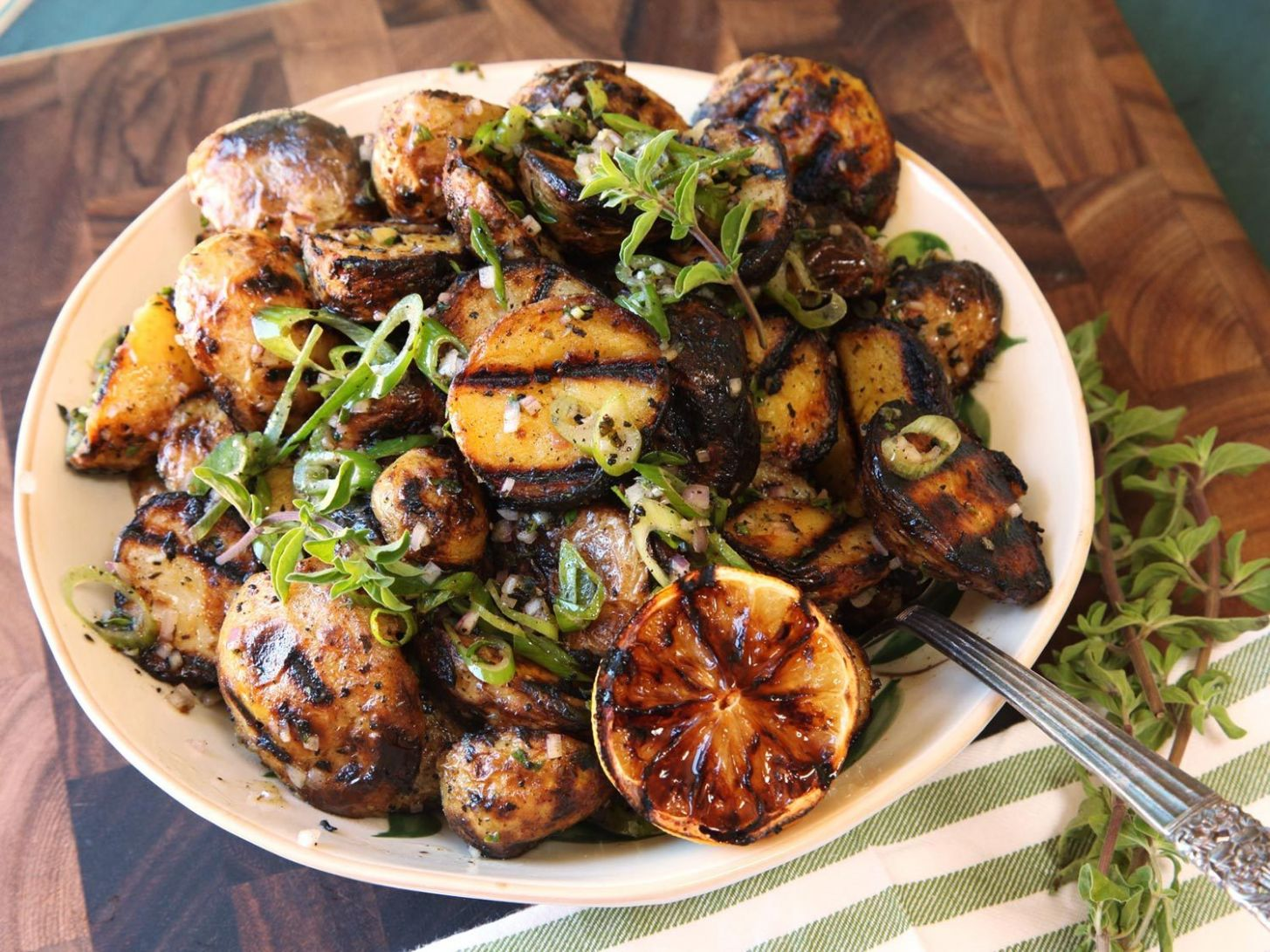 Simple Grilled-Potato Salad With Grilled-Lemon Vinaigrette Recipe - Potato Recipes On The Grill