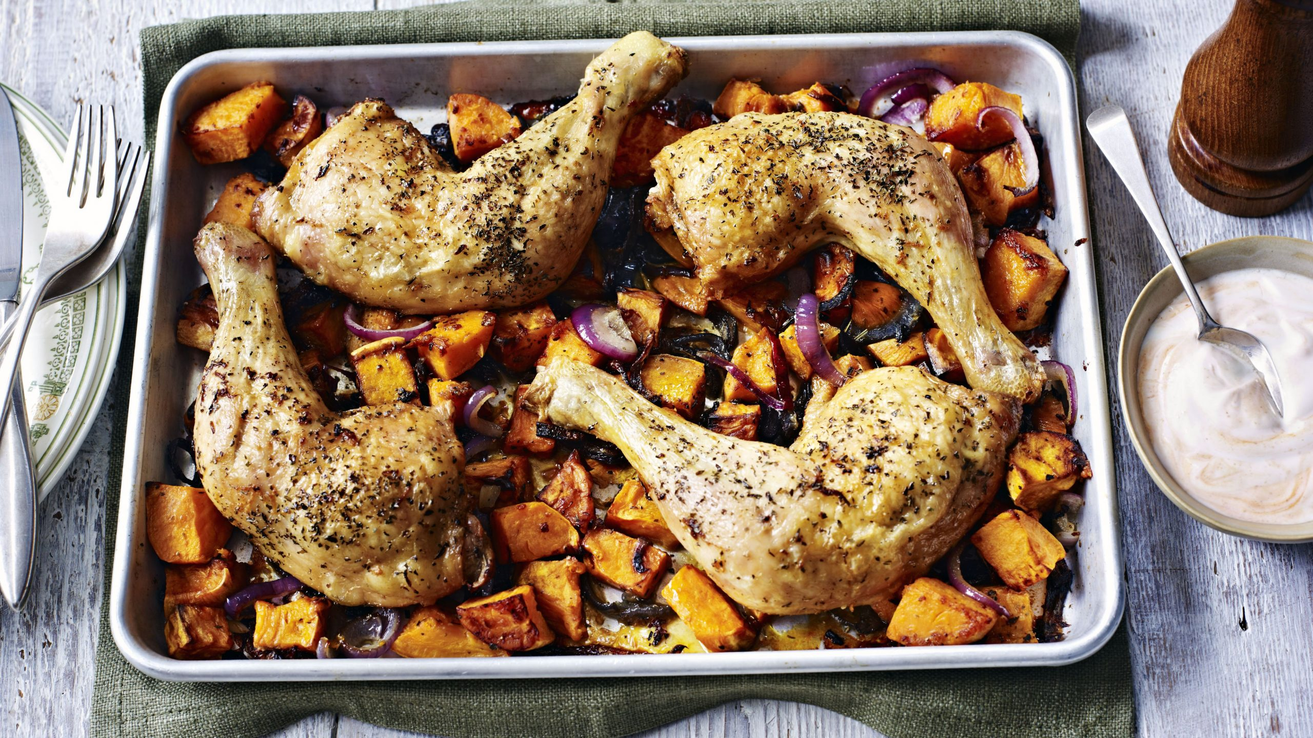 Simple roast chicken with sweet potato and spicy yoghurt