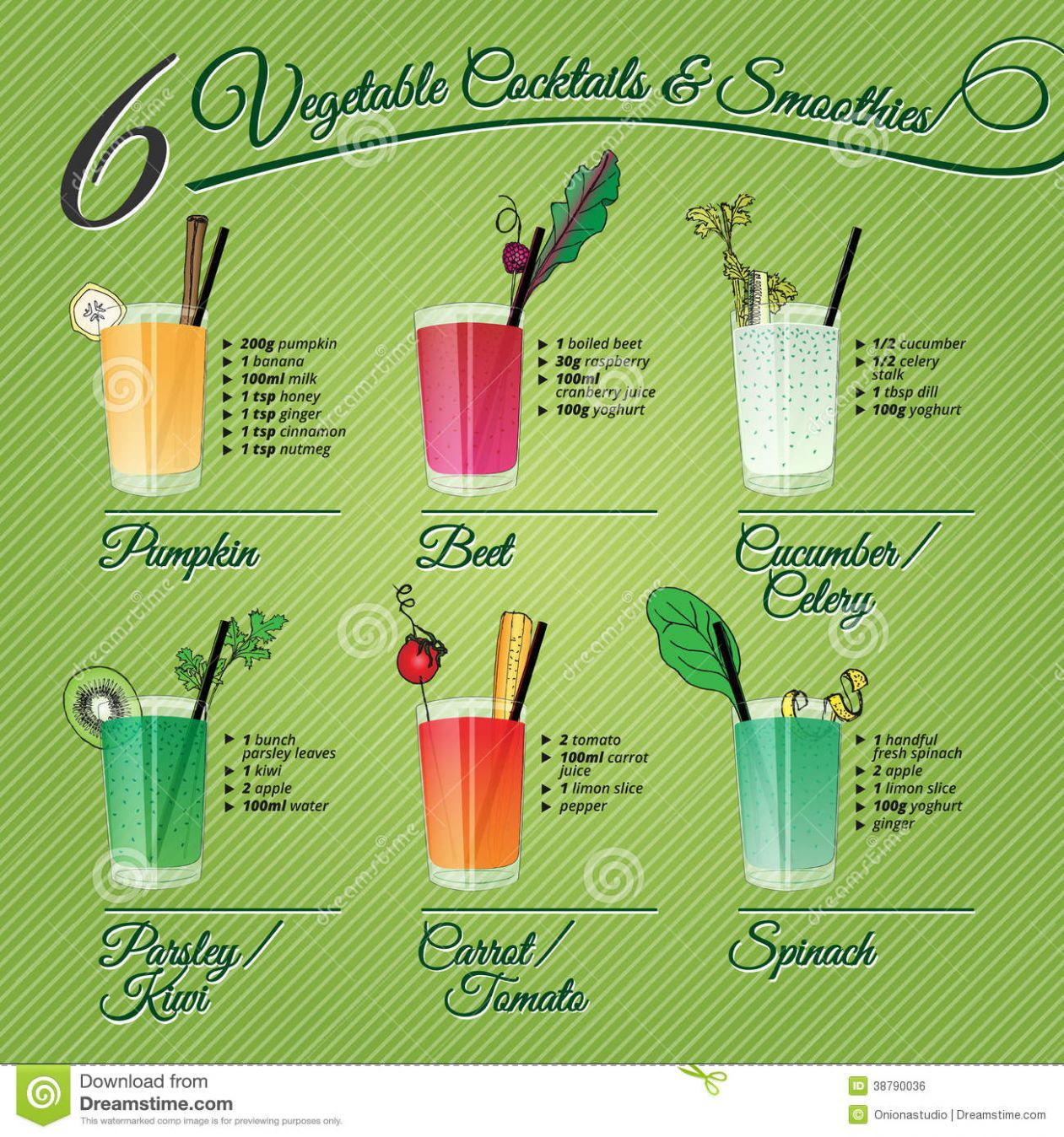 Six Fresh Vegetable Cocktails & Smoothies Stock Vector ..