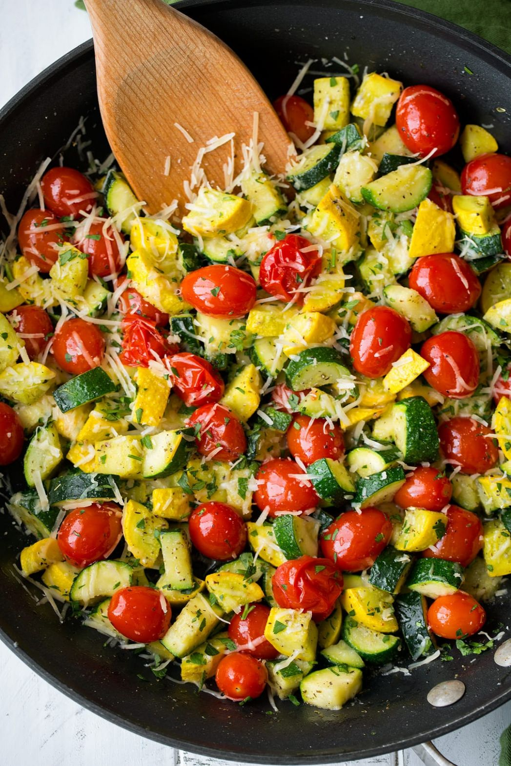 Skillet Garlic-Parmesan Zucchini Squash and Tomatoes - Recipes For Summer Squash And Zucchini