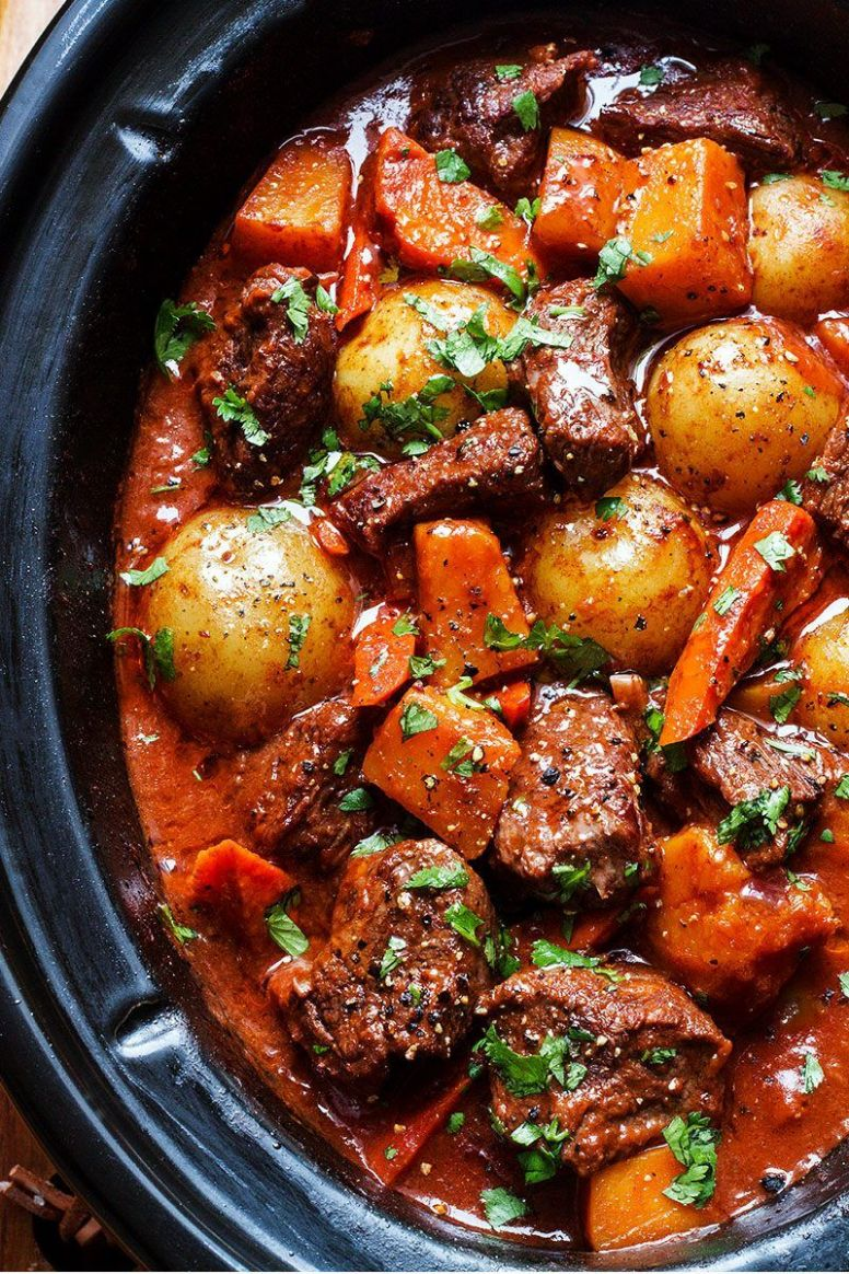 Slow Cooker Beef Stew with Butternut, Carrot and Potatoes - Recipes Diced Beef