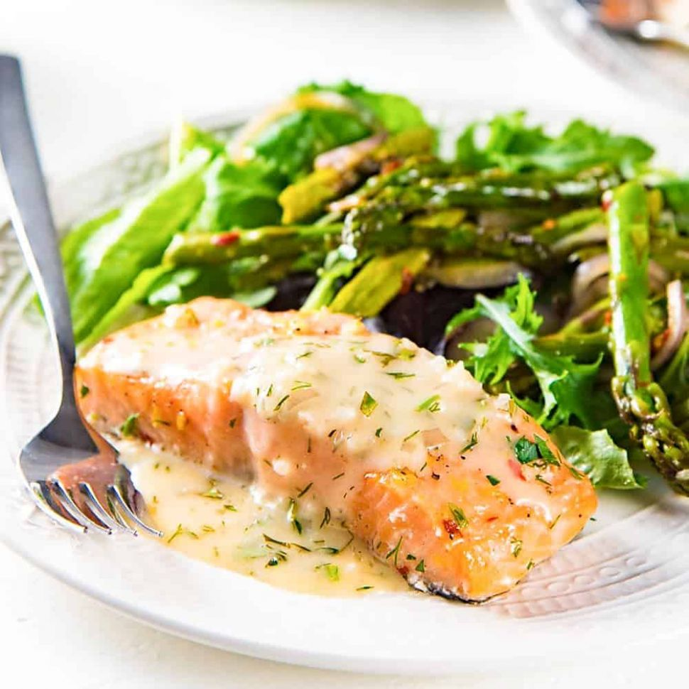 Slow Roasted Salmon with a Lemon and Butter Sauce