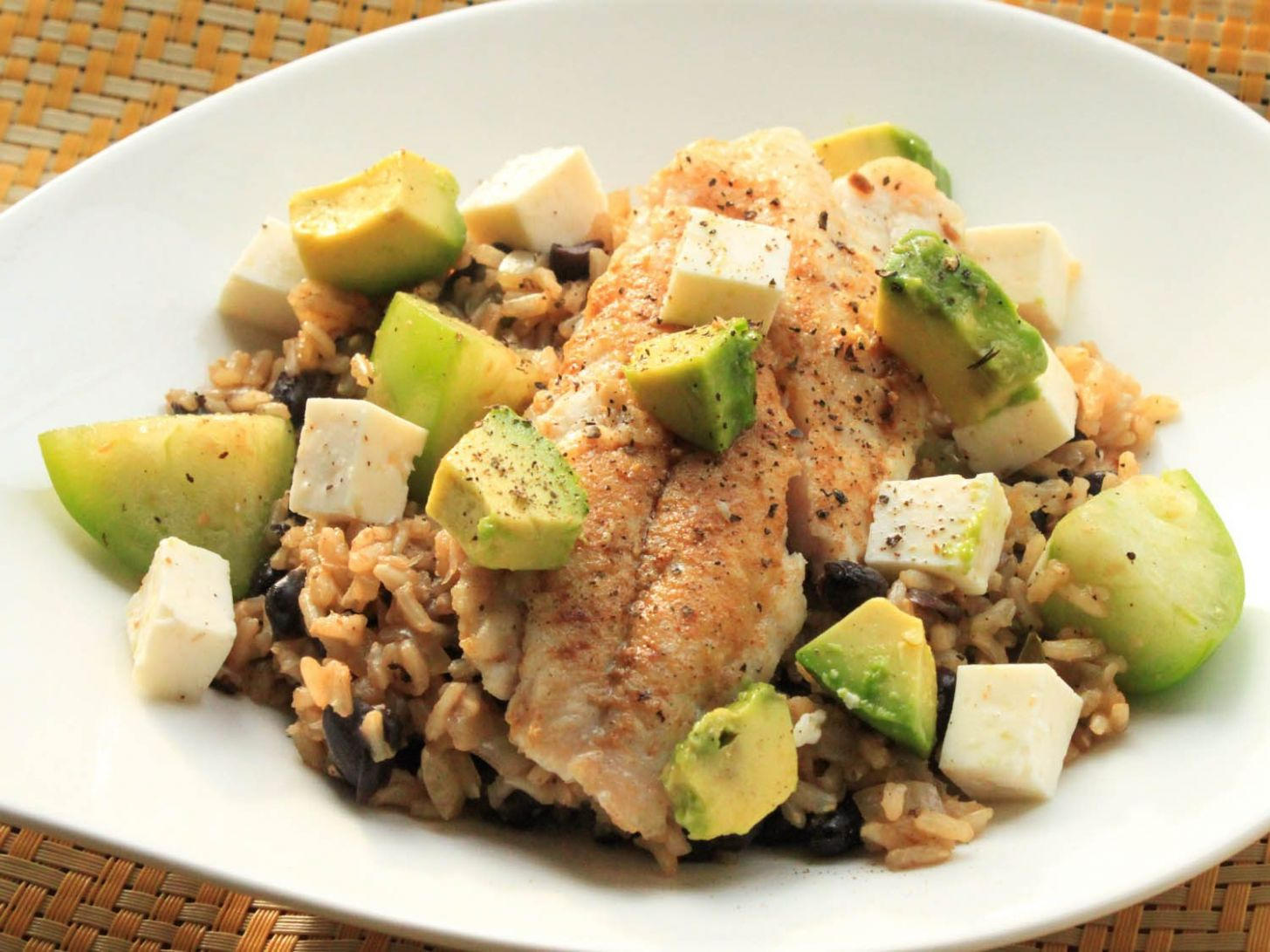 Snapper With Brown Rice, Avocado, and Cheese Recipe - Rice Recipes For Fish