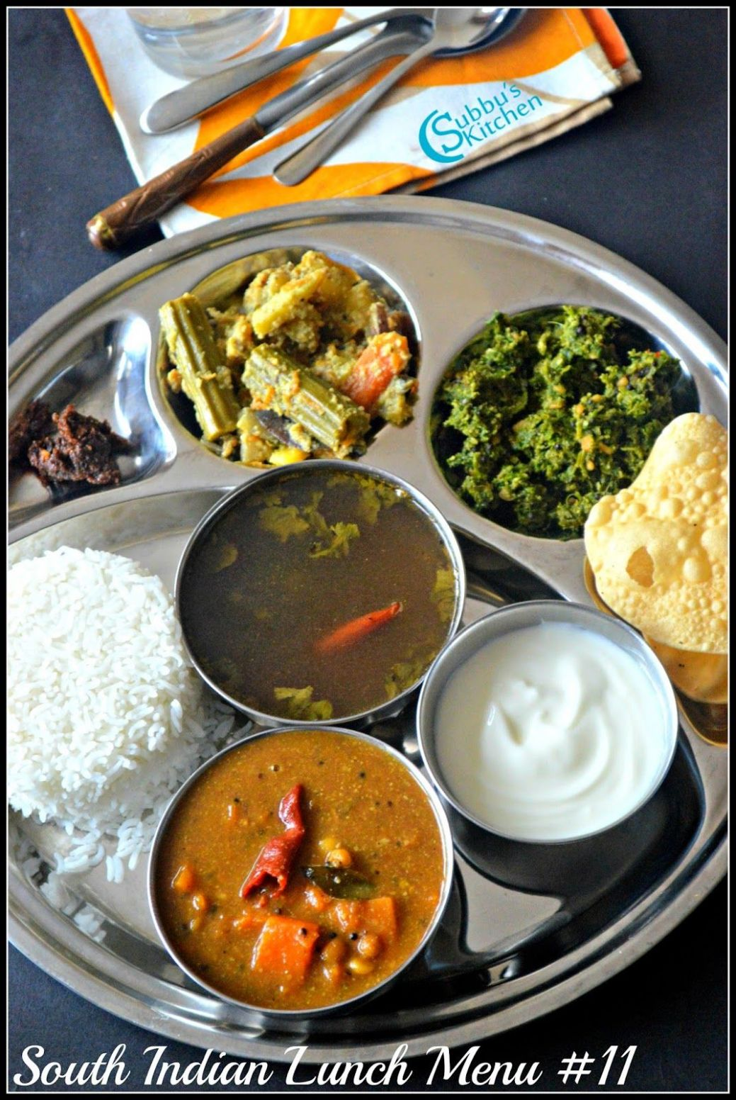 South Indian Lunch Menu 11 - Parangikai Puli Kuzhambu, Aviyal ...