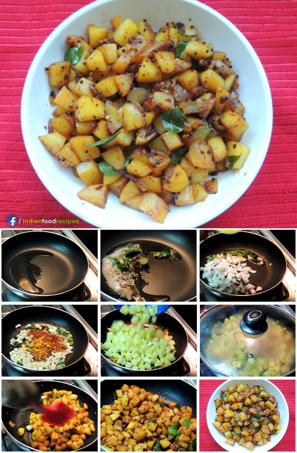 Spicy Potato Roast Kerala style recipe step by step pictures