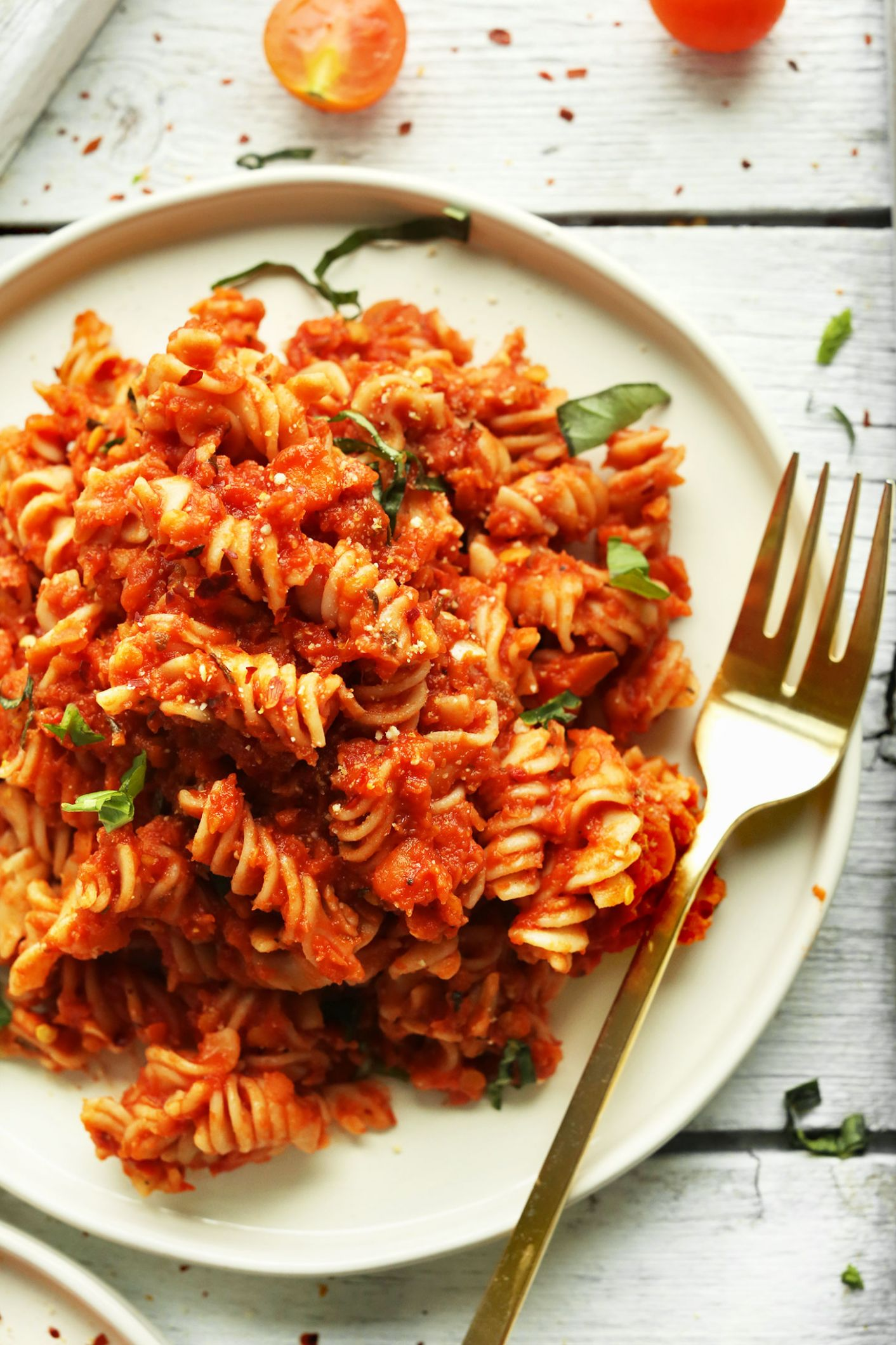 Spicy Red Pasta with Lentils