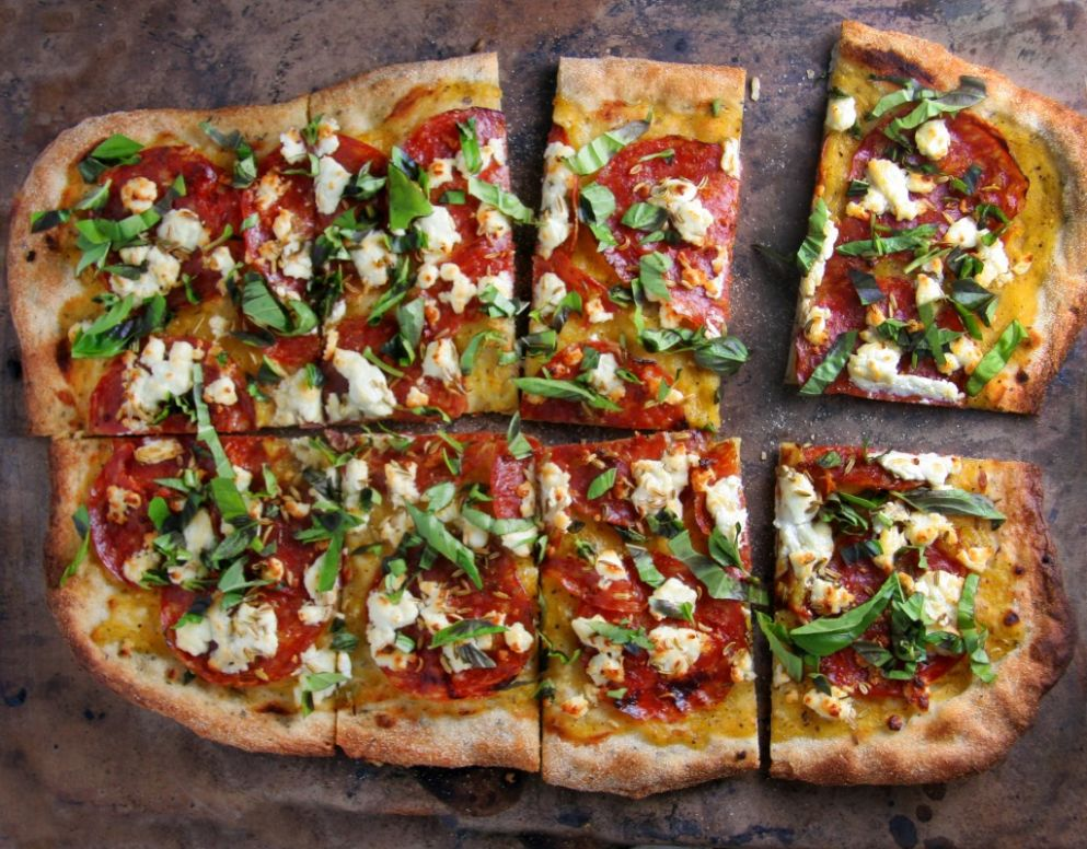 Spicy Salami Pizza with Fennel Seeds, Goat Cheese and Fresh Basil - Pizza Recipes Goat Cheese