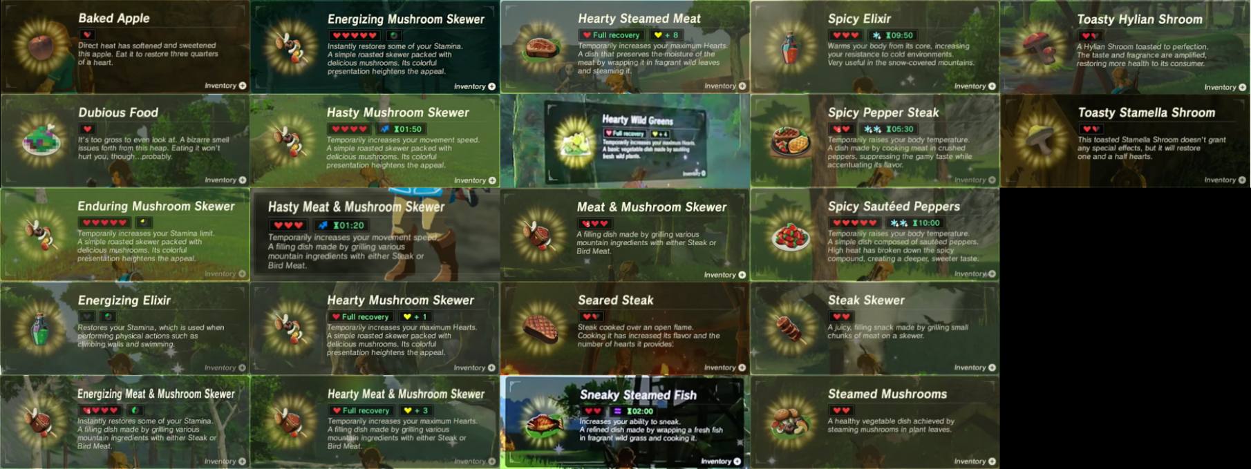"""SPOILERS] Breath of the Wild - Heres every """"Cooked Food"""" meal we .."""