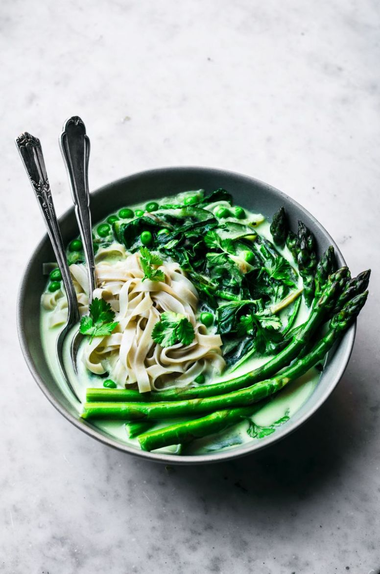 Spring Green Vegetable Coconut Rice Noodles | Occasionally Eggs - Recipes Rice Noodles Coconut Milk