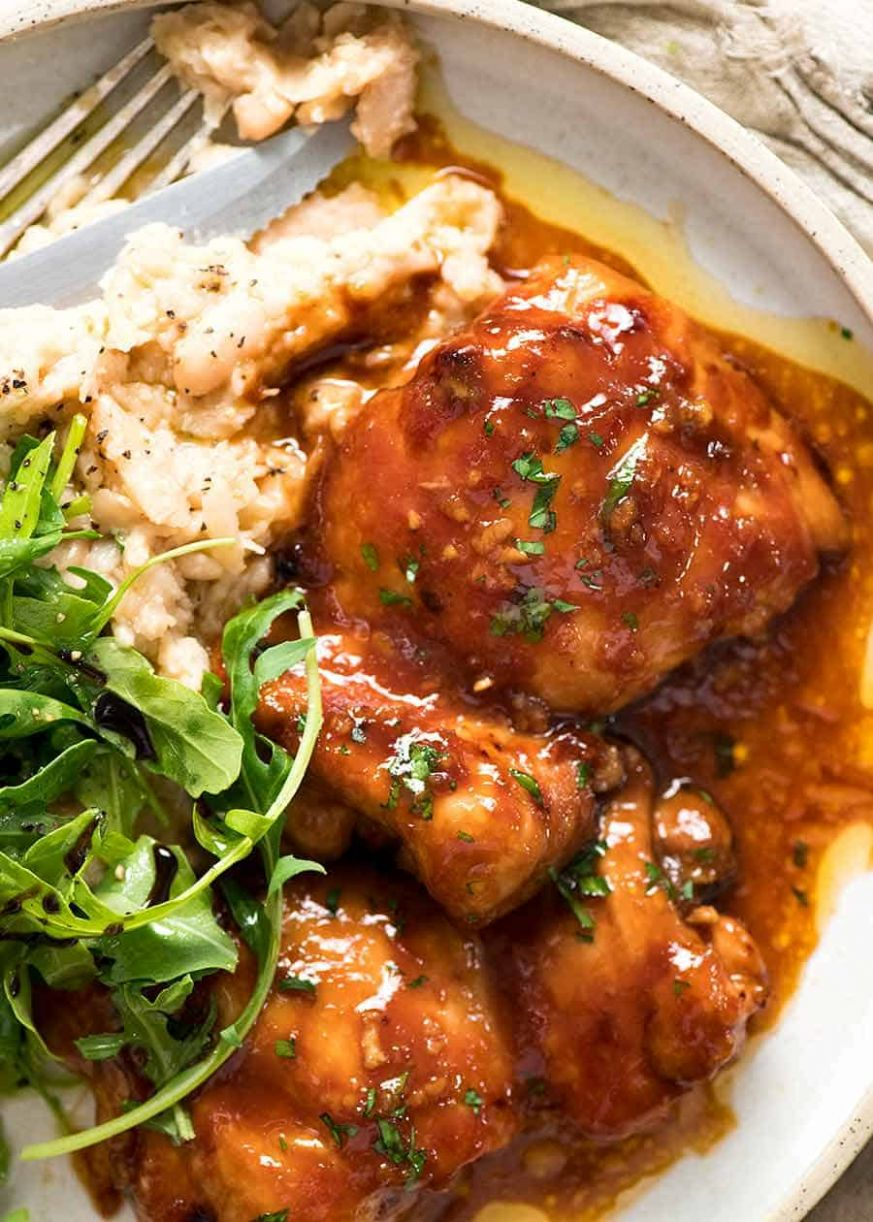 Sticky Baked Chicken Thighs