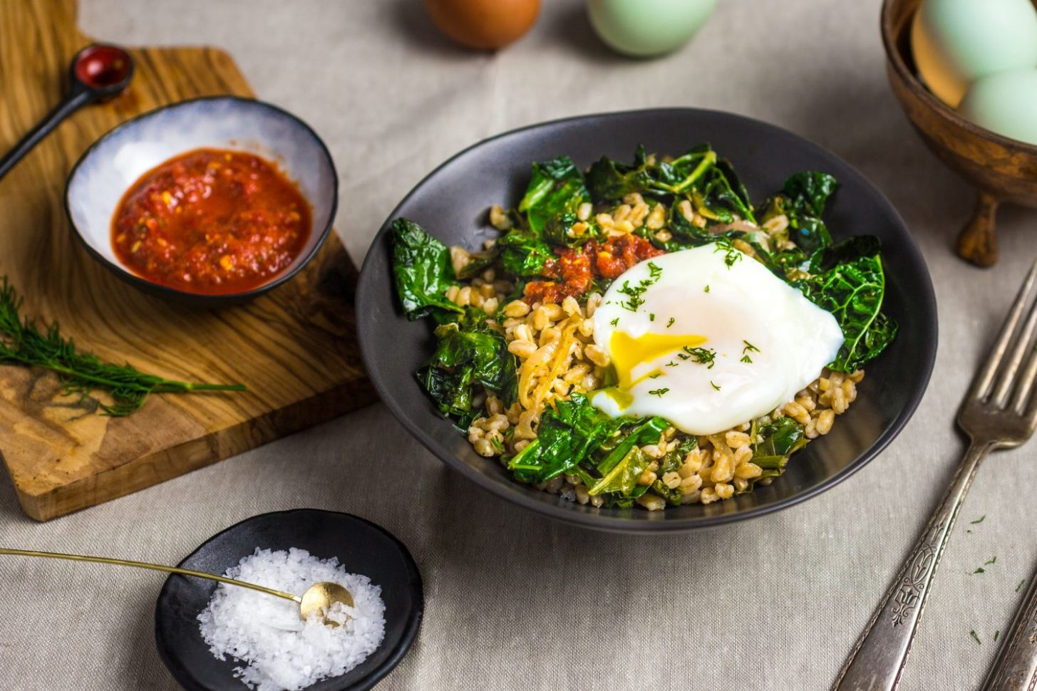 Stir-Fried Farro With Garlicky Kale and Poached Egg Recipe