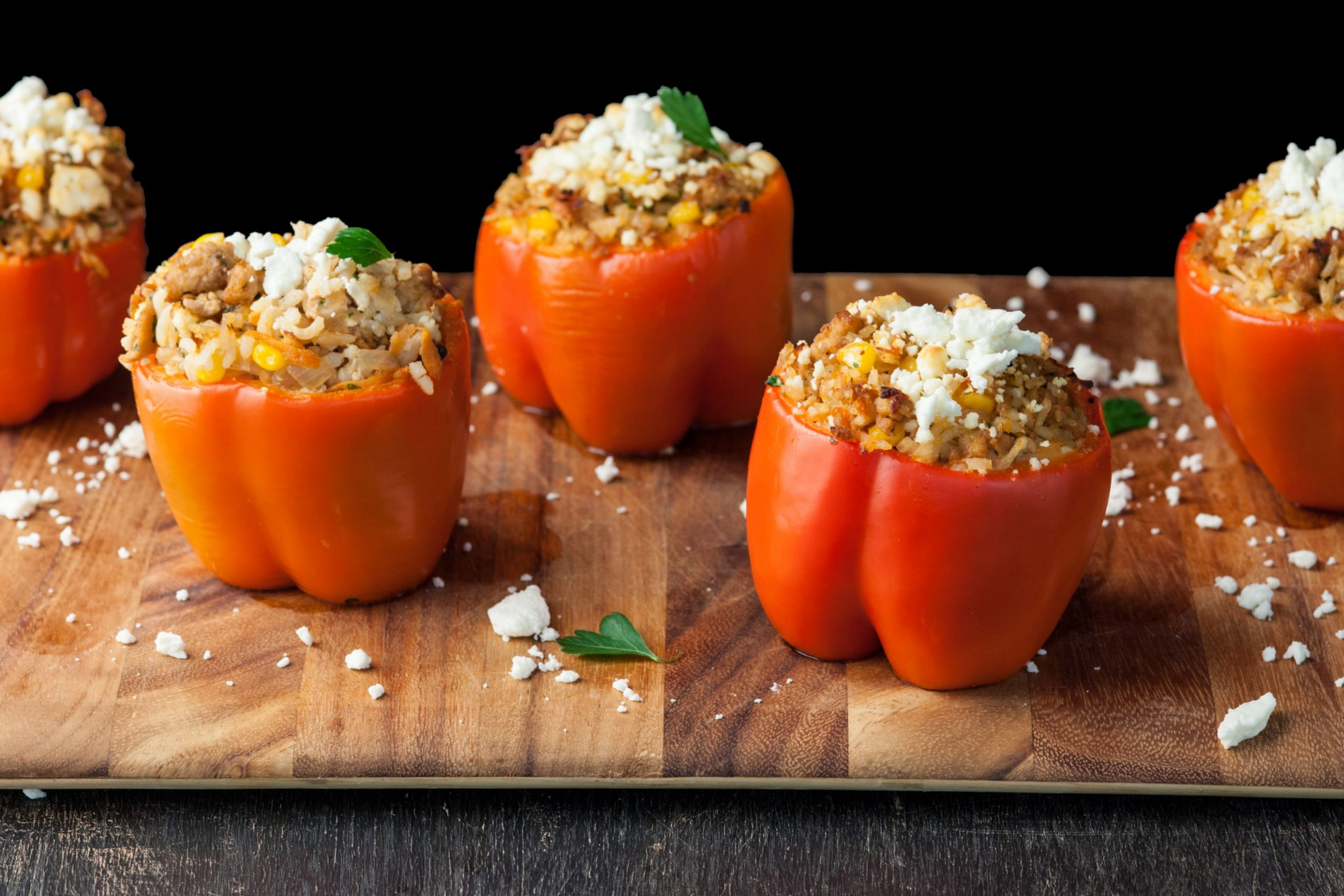 Stuffed Red Bell Peppers with Ground Chicken - Easy Recipes Ground Chicken