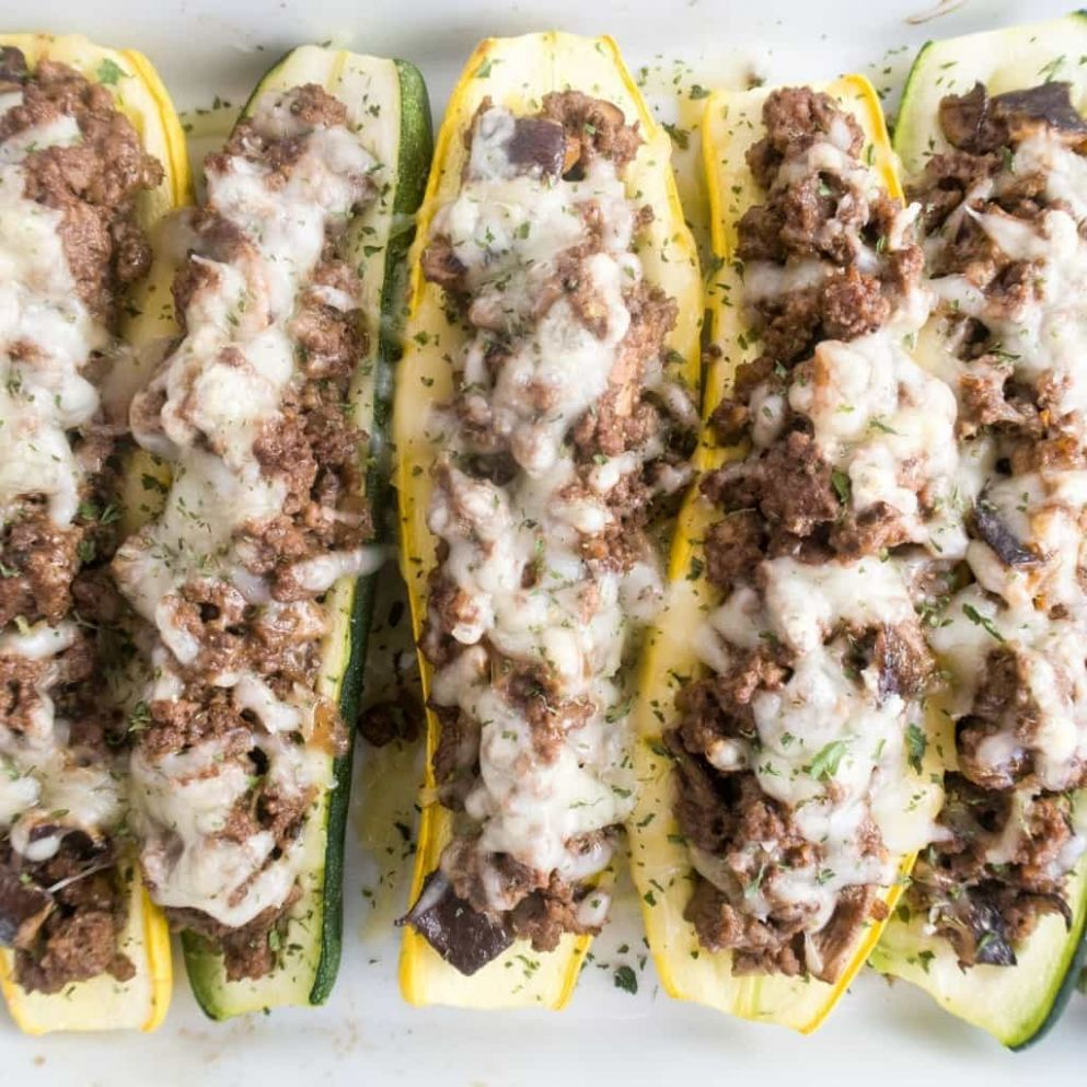 Stuffed Summer Squash Boats with Beef, Shiitake Mushrooms & Swiss Cheese