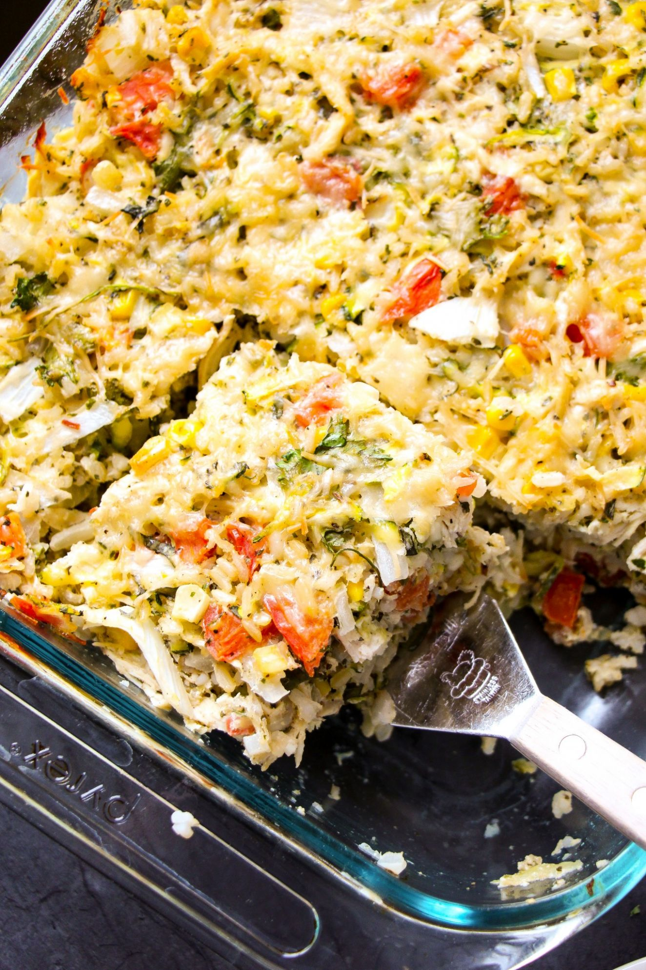 Summer Vegetable & Rotisserie Chicken Rice Bake - Summer Recipes With Rotisserie Chicken