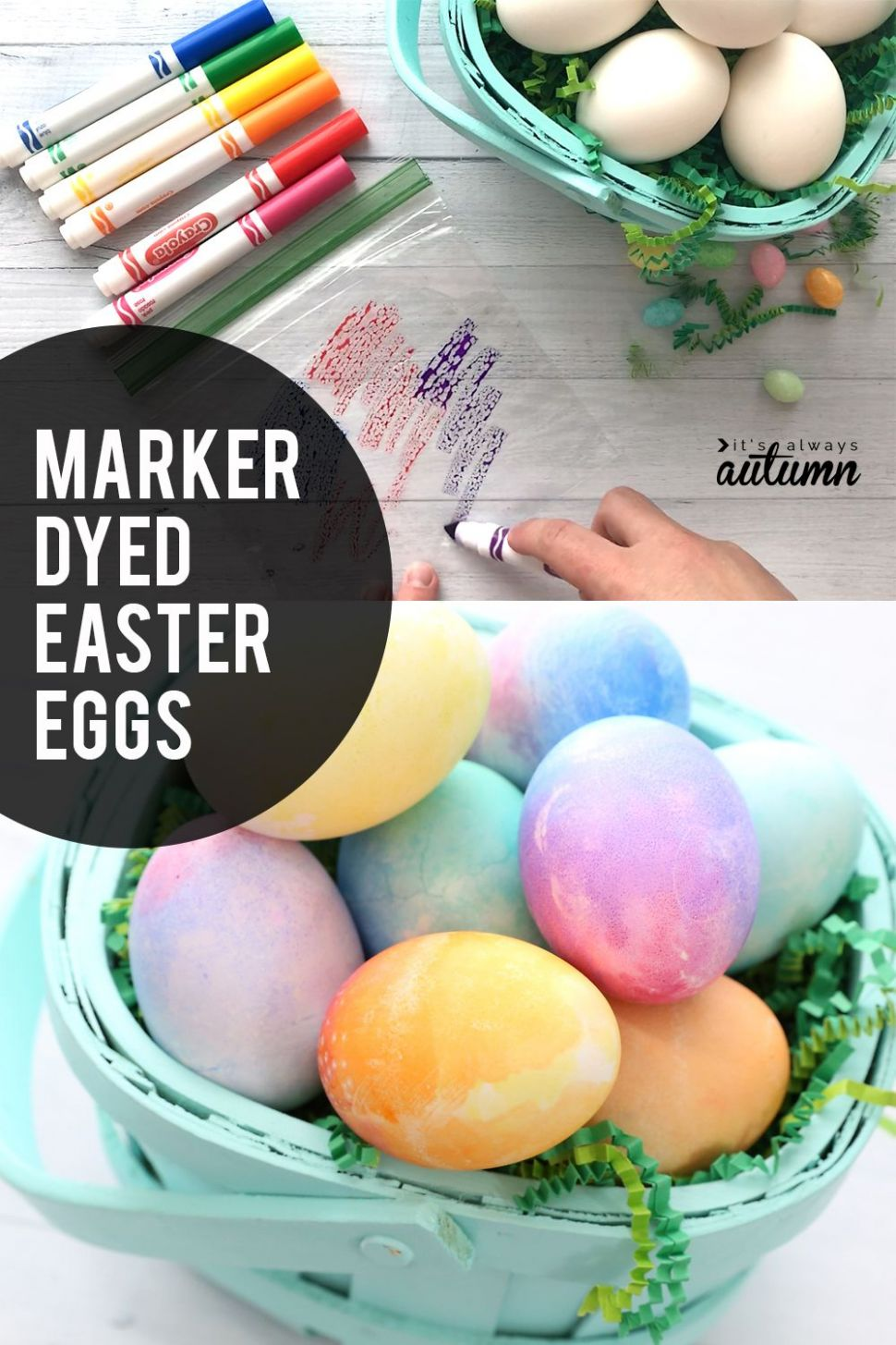 Super easy way to color Easter eggs with markers instead of dye ..