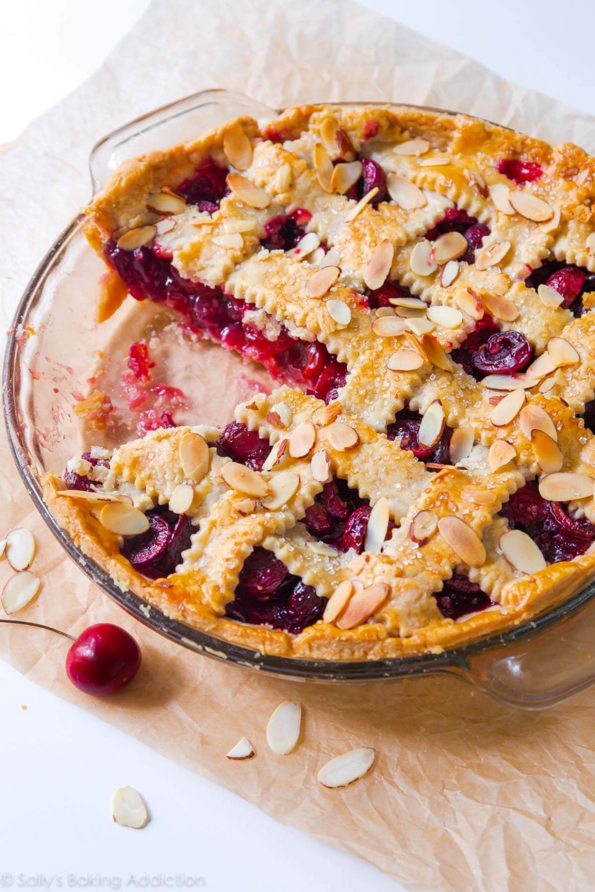 Sweet Cherry Pie with Toasted Almonds - Dessert Recipes Made With Cherry Pie Filling