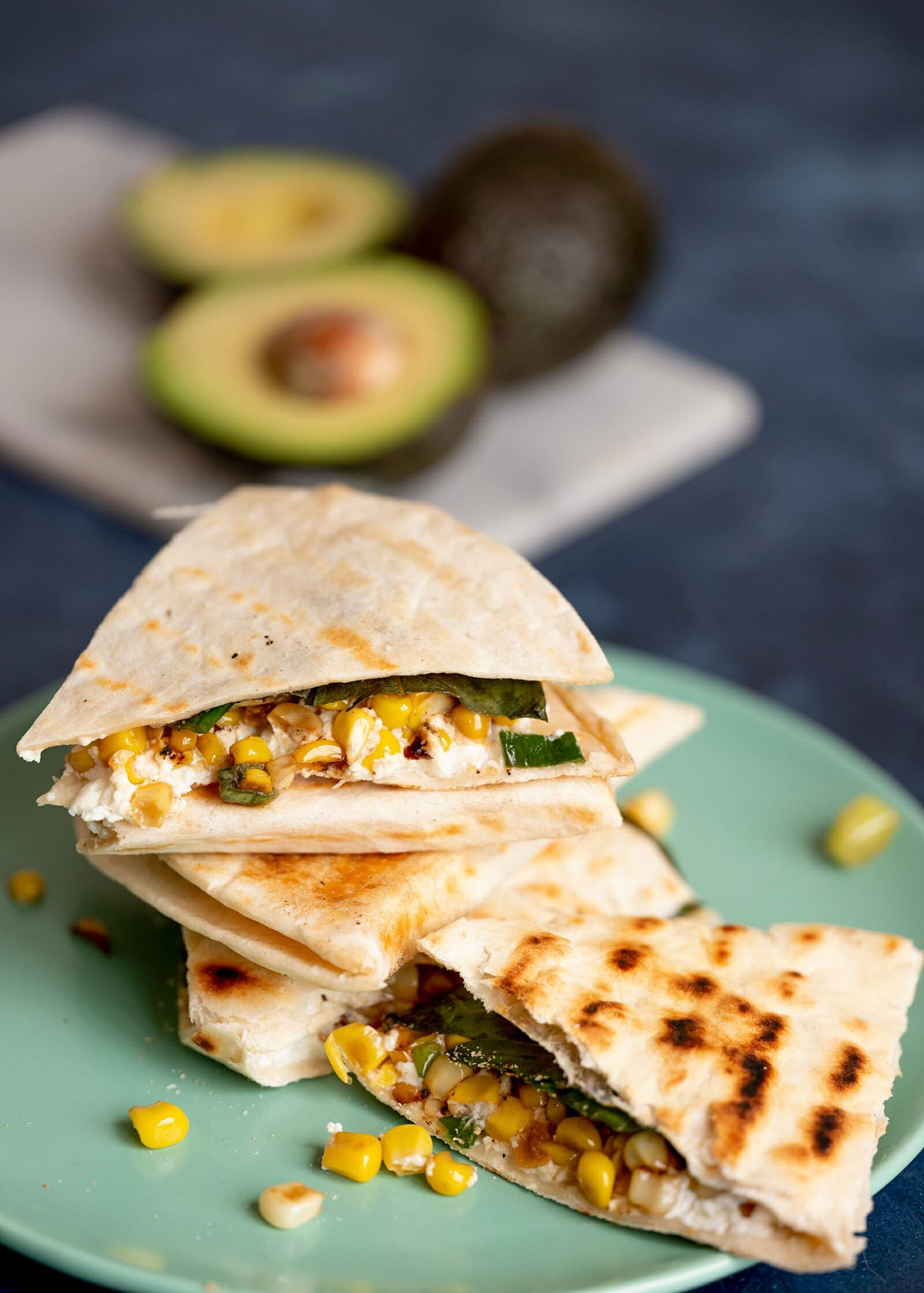 Sweet Corn and Goat Cheese Quesadillas
