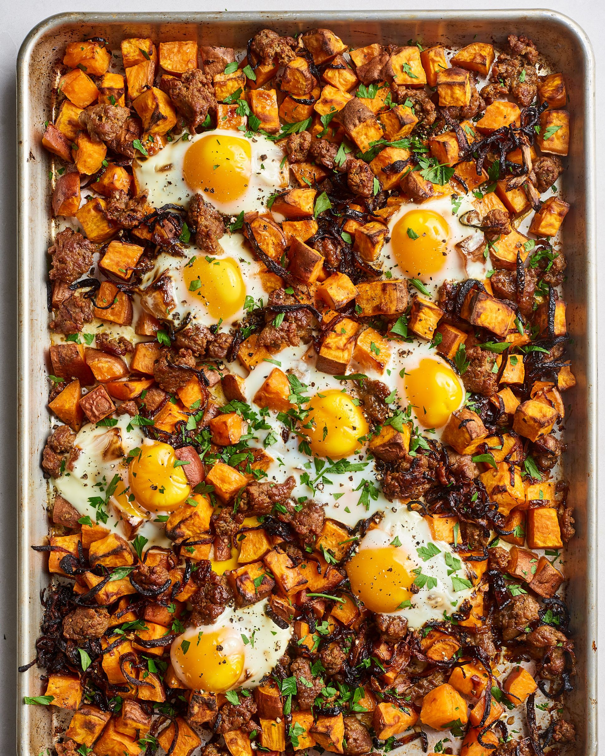 Sweet Potato Hash with Caramelized Onions, Sausage & Eggs - Recipes Using Egg