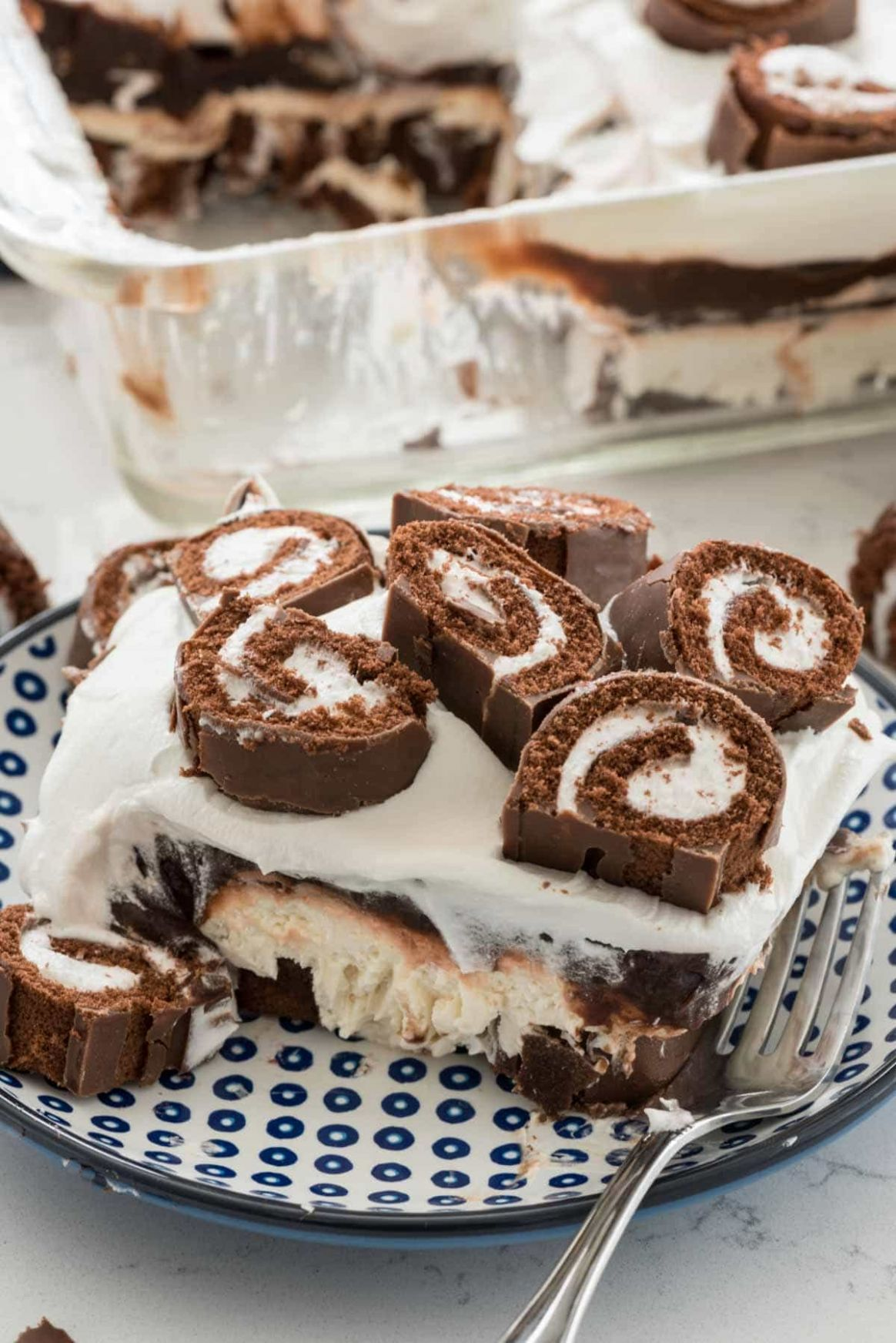 Swiss Roll Layered No Bake Dessert