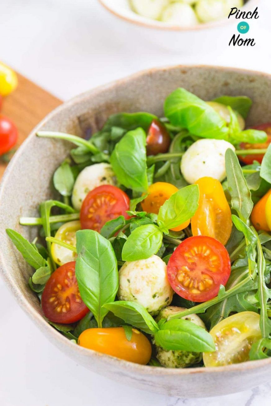 Syn free basil tomato mozzarella salad | Slimming World-9 | Side ..