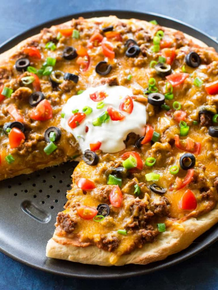 Taco Pizza - Recipes With Pizza Dough And Ground Beef