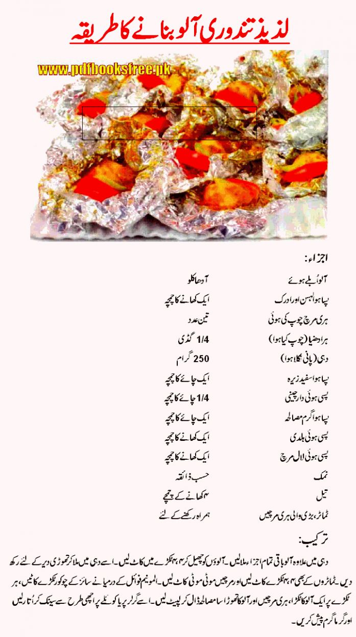 Tandoori Aloo Recipe in Urdu and English