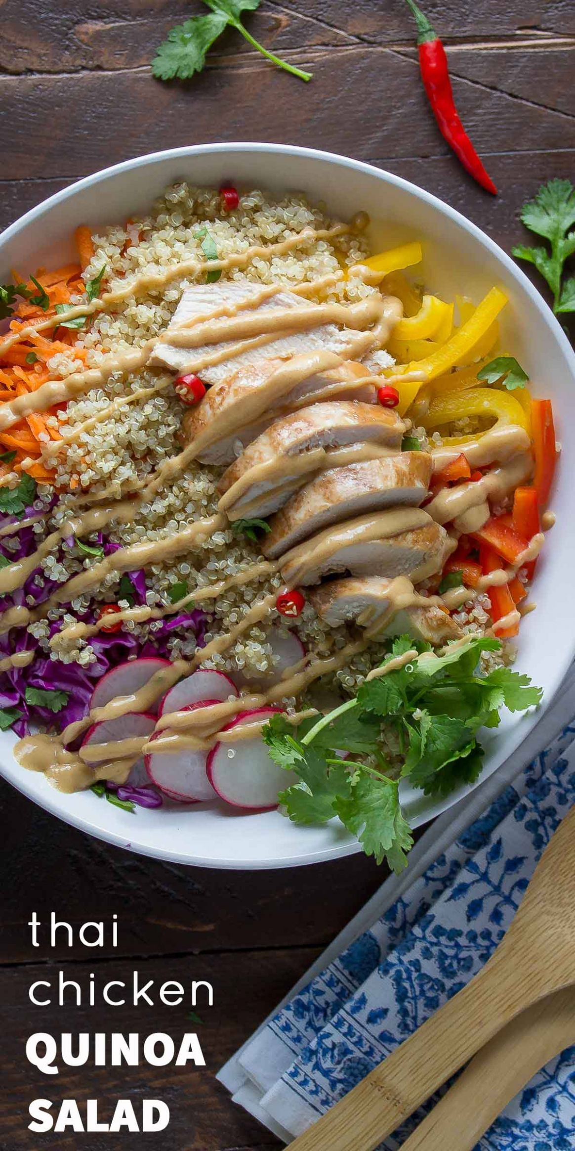 Thai Chicken Quinoa Salad with Peanut Dressing - Recipe Chicken Quinoa Salad