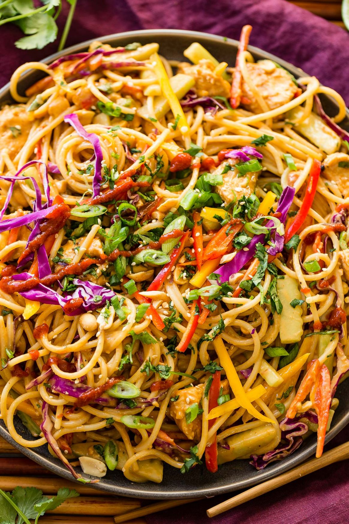 Thai Peanut Noodles and Chicken - Recipes Rice Noodles Peanut Sauce