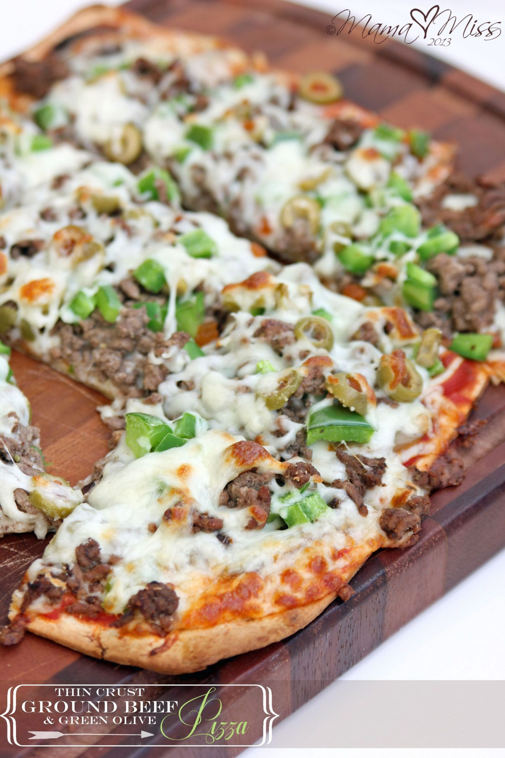 Thin Crust Ground Beef & Green Olive Pizza | Recipe | Olive pizza ..
