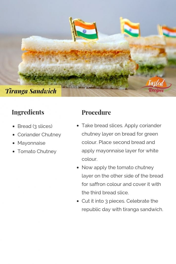 Tiranga Sandwich – Tri colour Sandwich - Sandwich Recipes With Ingredients And Procedure