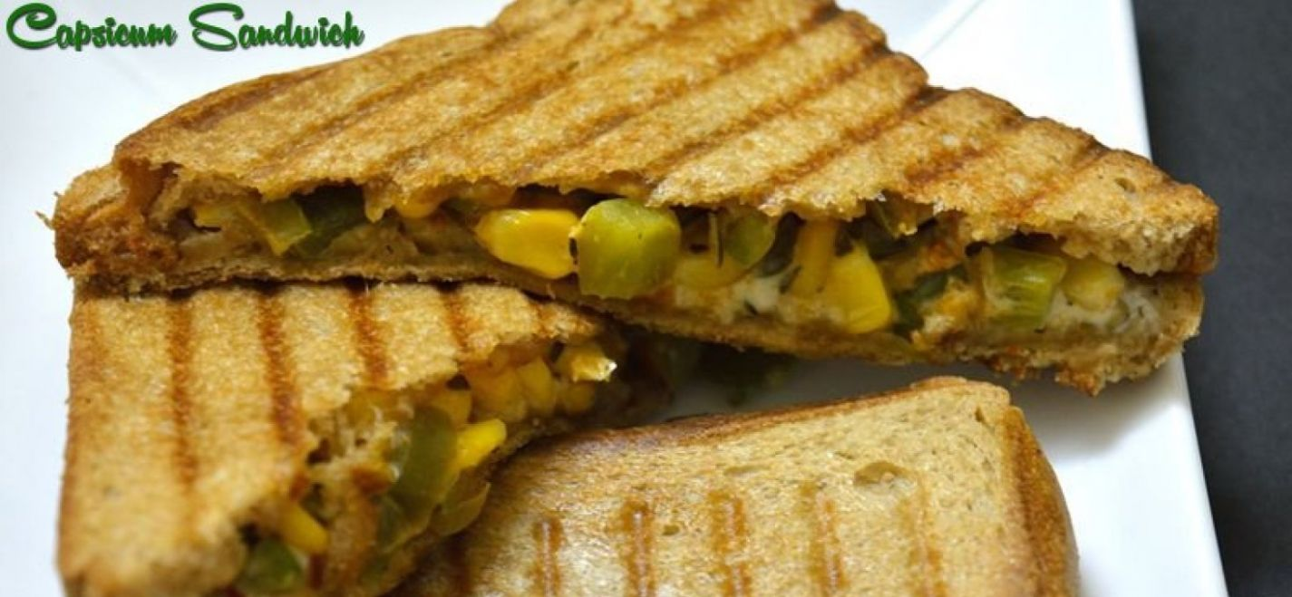 To make Grilled Corn Capsicum Sandwich - Sandwich Recipes Dinner