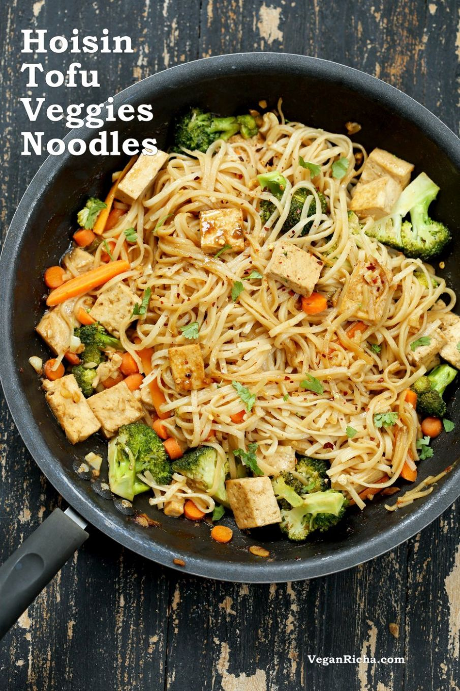 Tofu and Brown Rice Noodles in Hoisin Sauce - Recipes Vegetarian Noodles