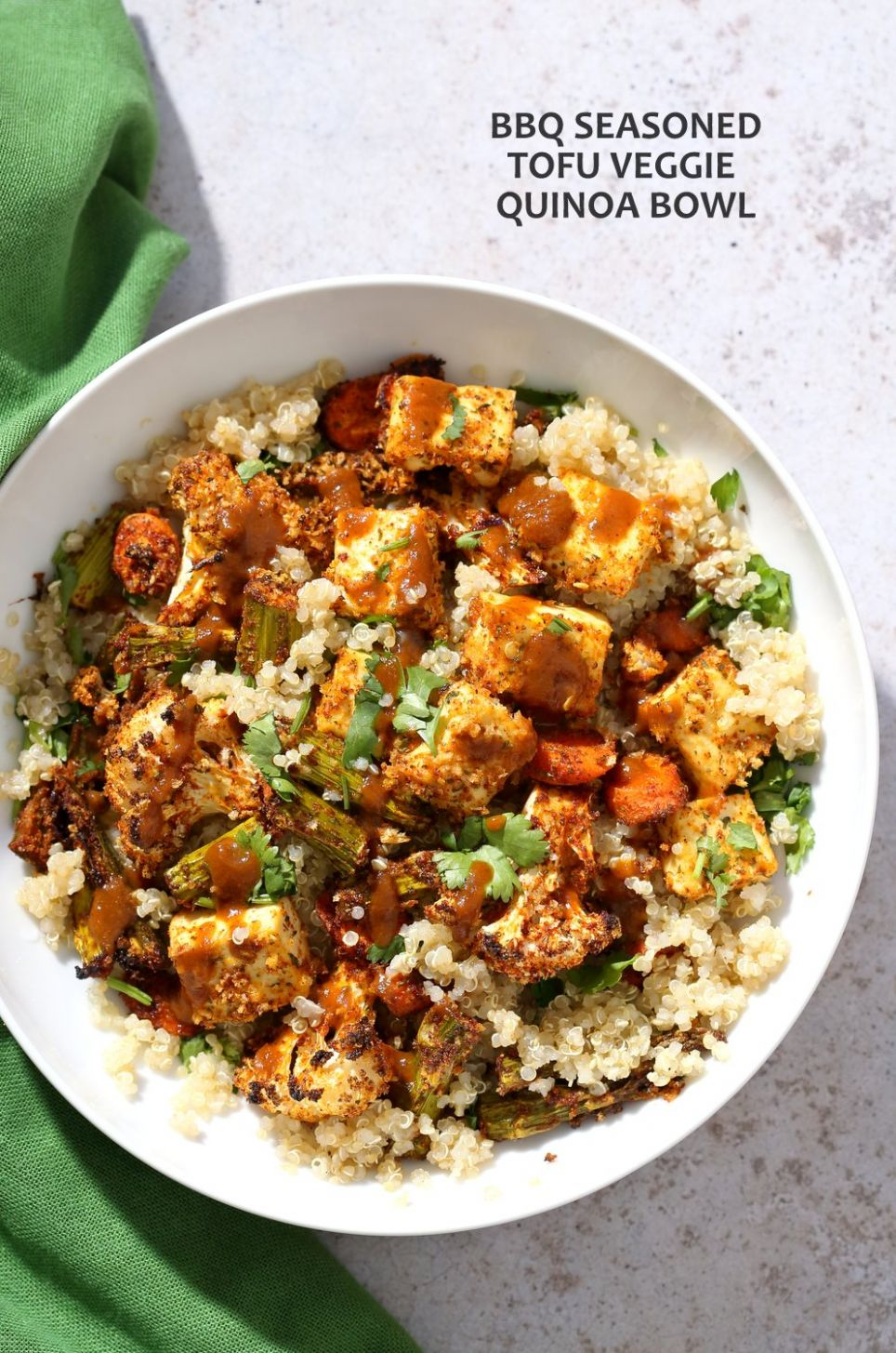 Tofu and Veggie BBQ Bowl with homemade bbq Seasoning