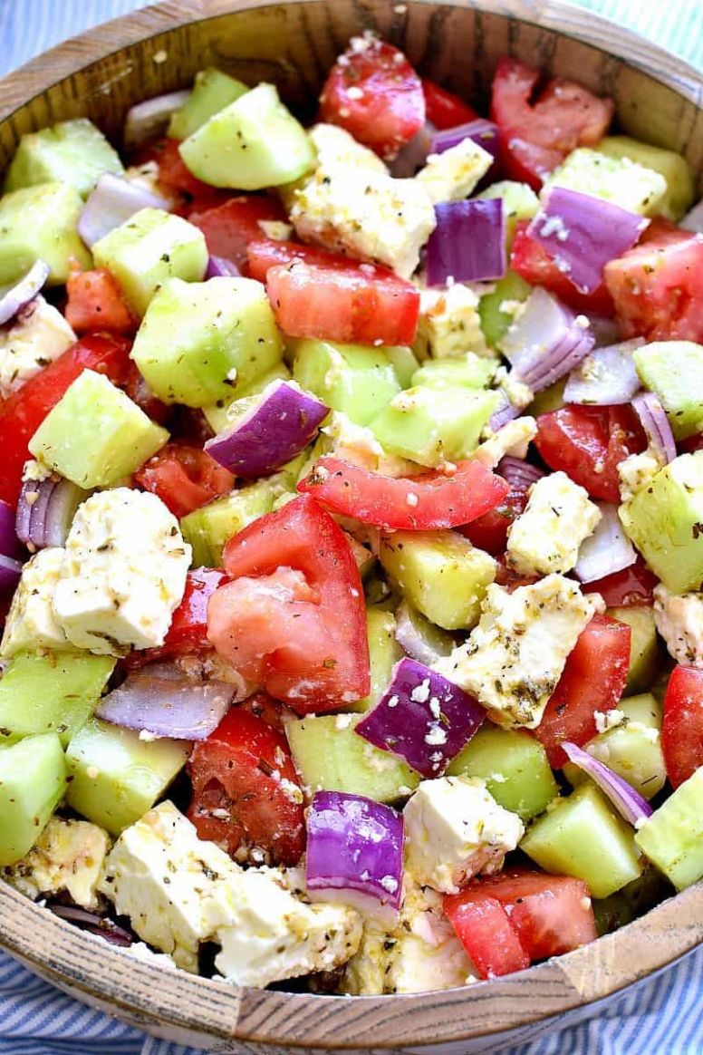 Tomato Cucumber Feta Salad - Recipes Easy Summer Salads