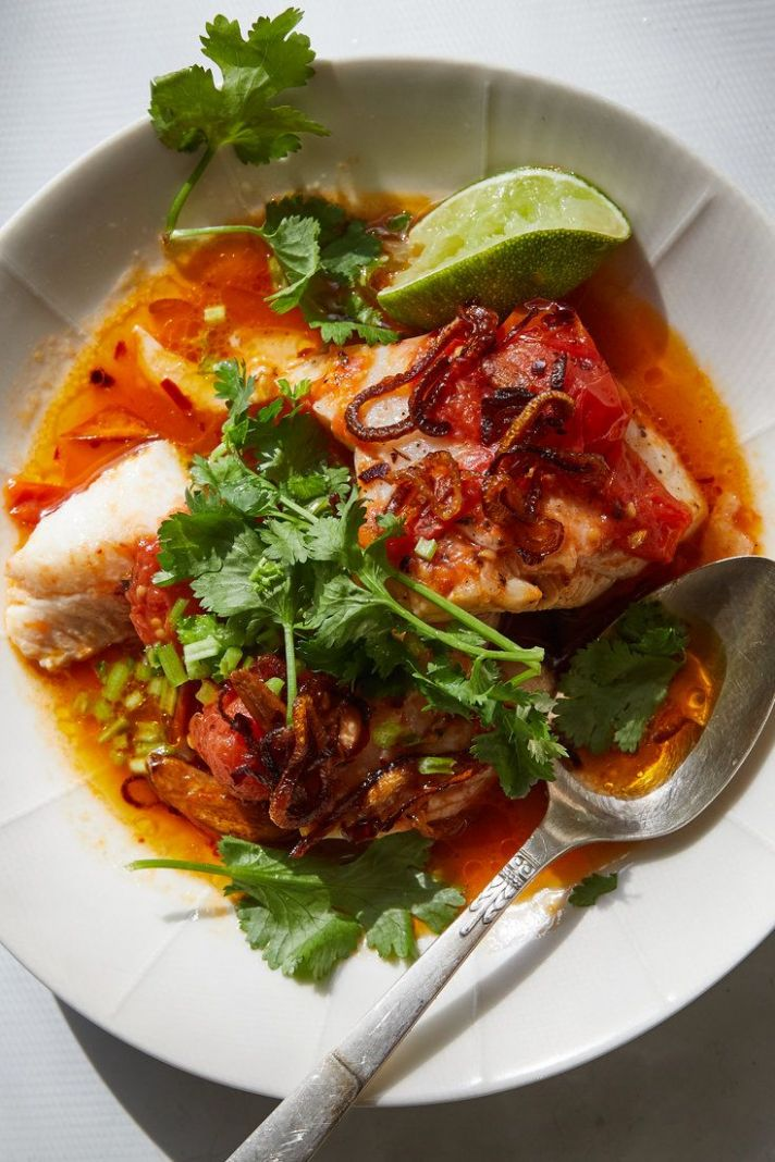 Tomato-Poached Fish With Chile Oil and Herbs | Recipe | Recipes ...
