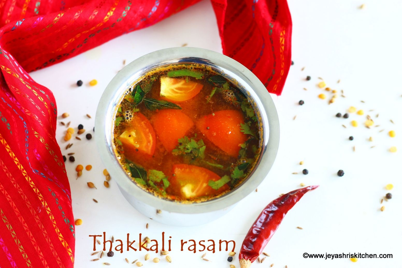 Tomato rasam with fresh rasam powder