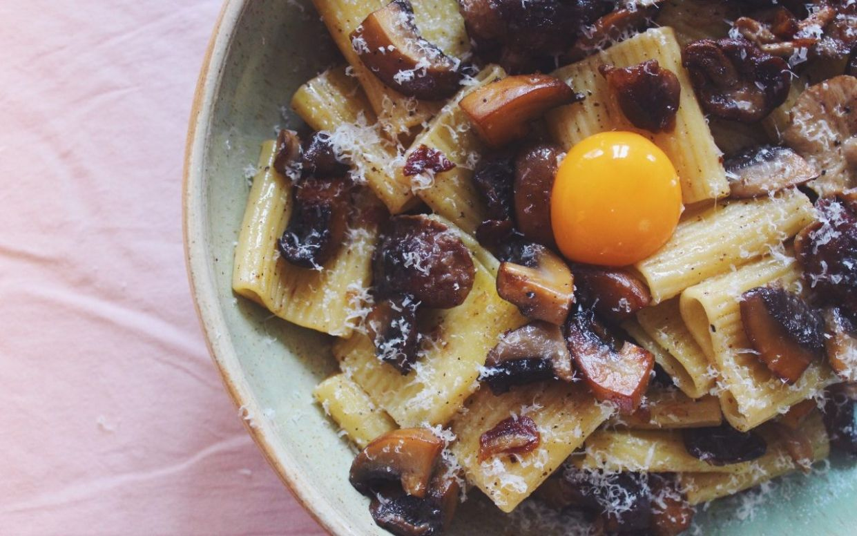 Tonight's dinner: Pasta with brown butter mushrooms and egg yolk ...