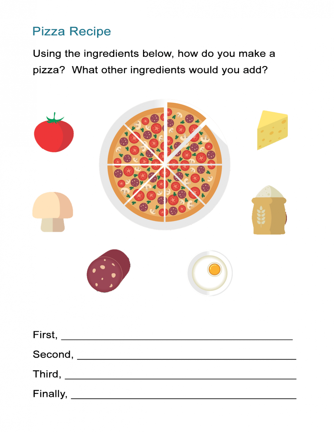 Transition Words Worksheet: The Pizza Recipe Cooking Instructions ...