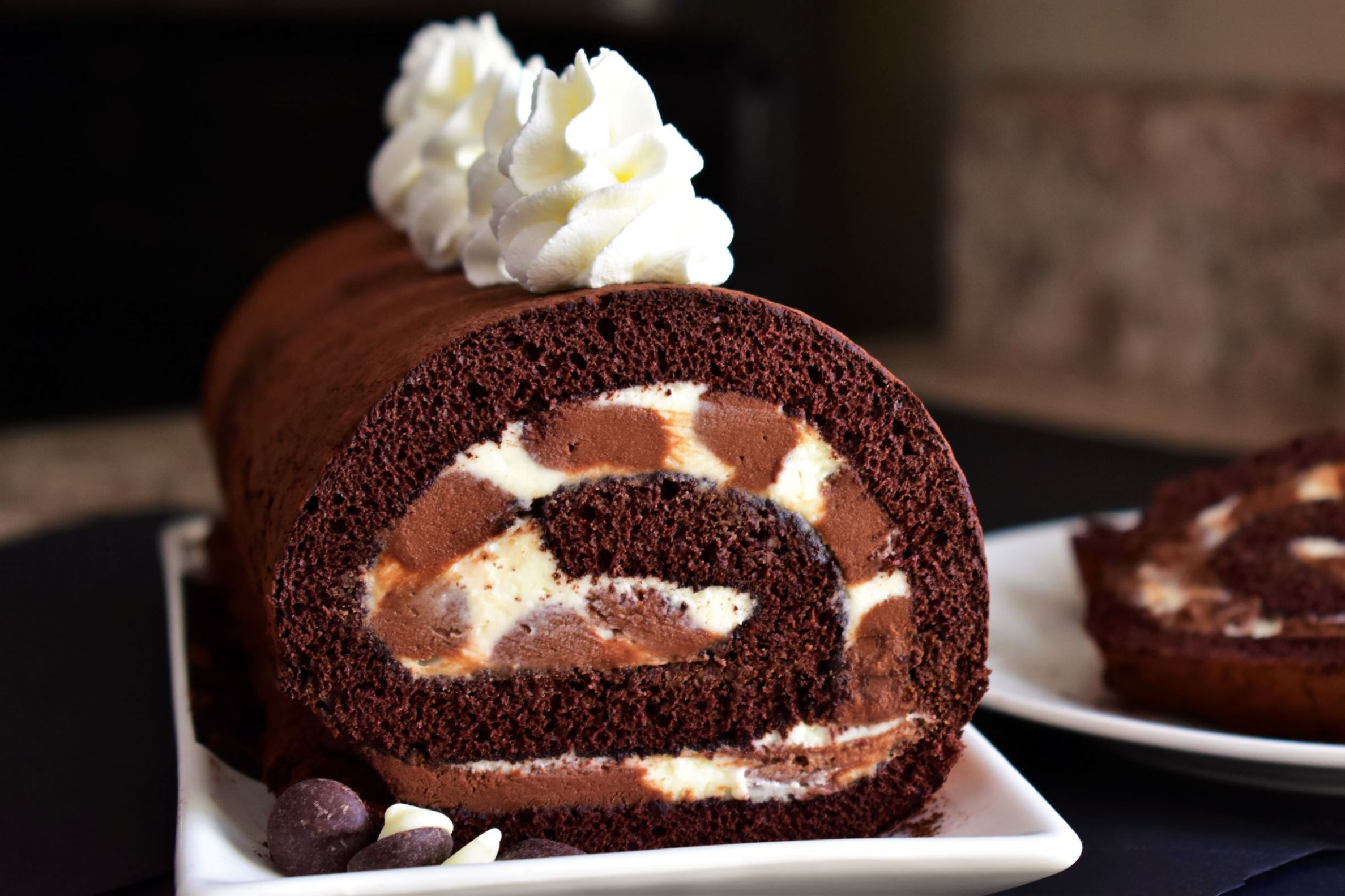 Triple Chocolate Roll Cake