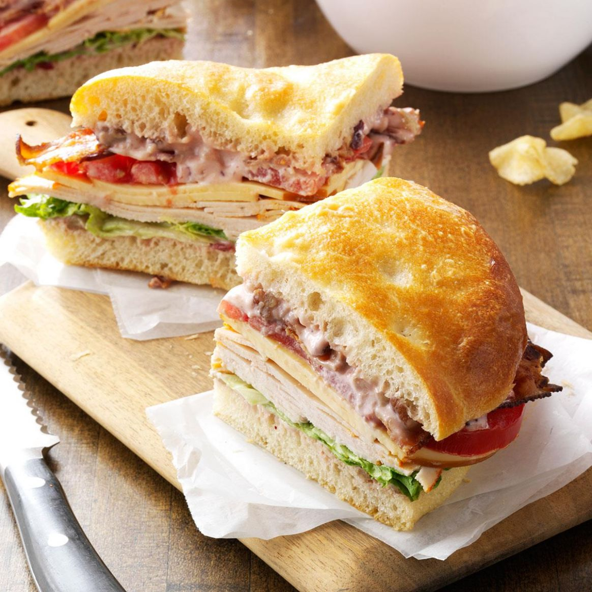 Turkey Focaccia Club - Sandwich Recipes Turkey