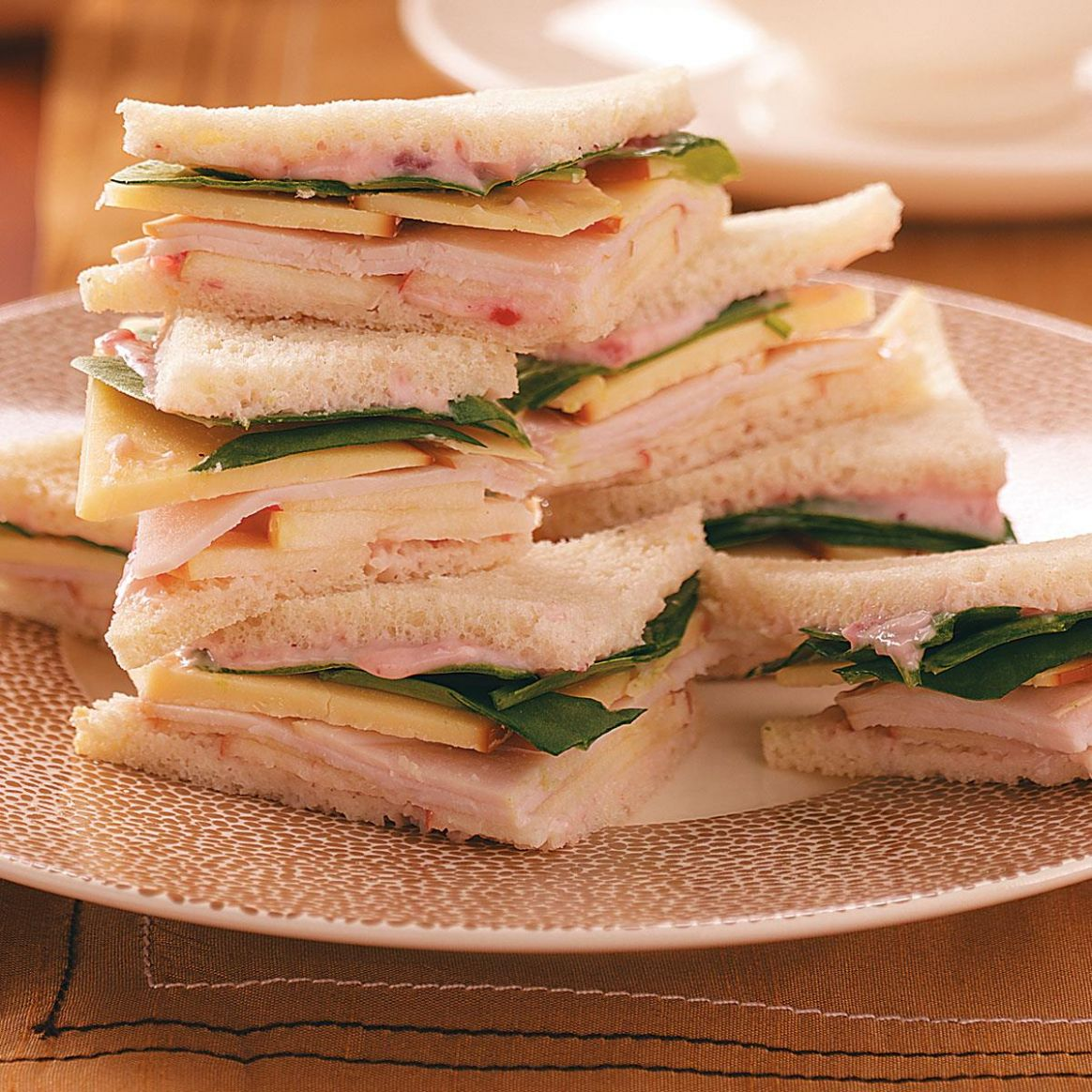 Turkey, Gouda & Apple Tea Sandwiches - Sandwich Recipes Turkey