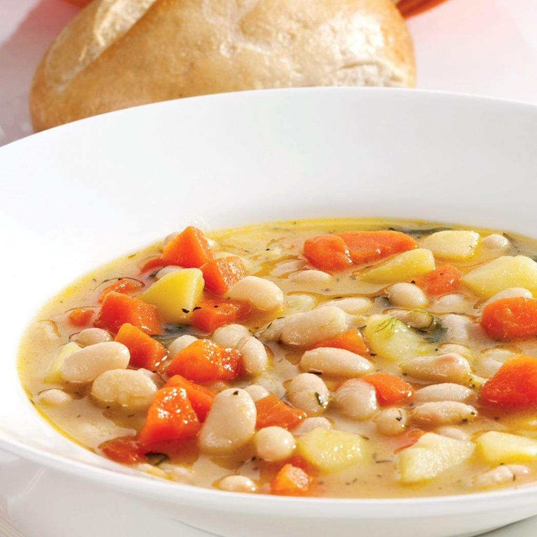 Tuscan Soup with White Beans, Vegetables, and Herbs - Recipe Vegetarian Navy Bean Soup