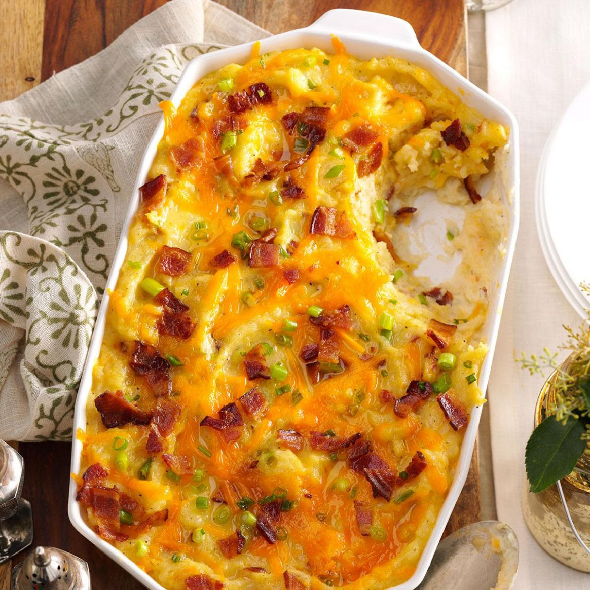Twice-Baked Cheddar Potato Casserole - Potato Recipes For Xmas