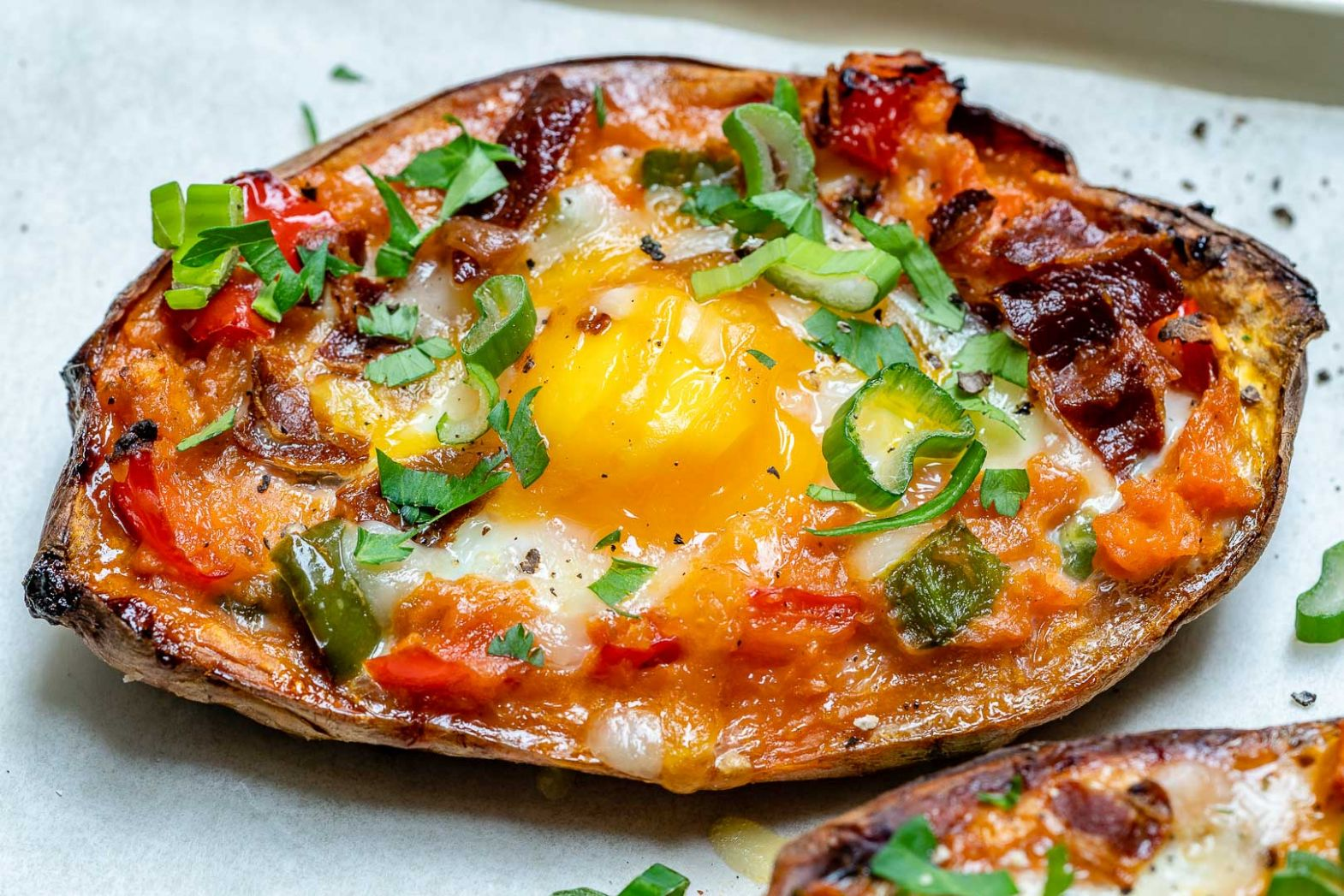Twice Baked Stuffed Sweet Potatoes with Bacon and Eggs