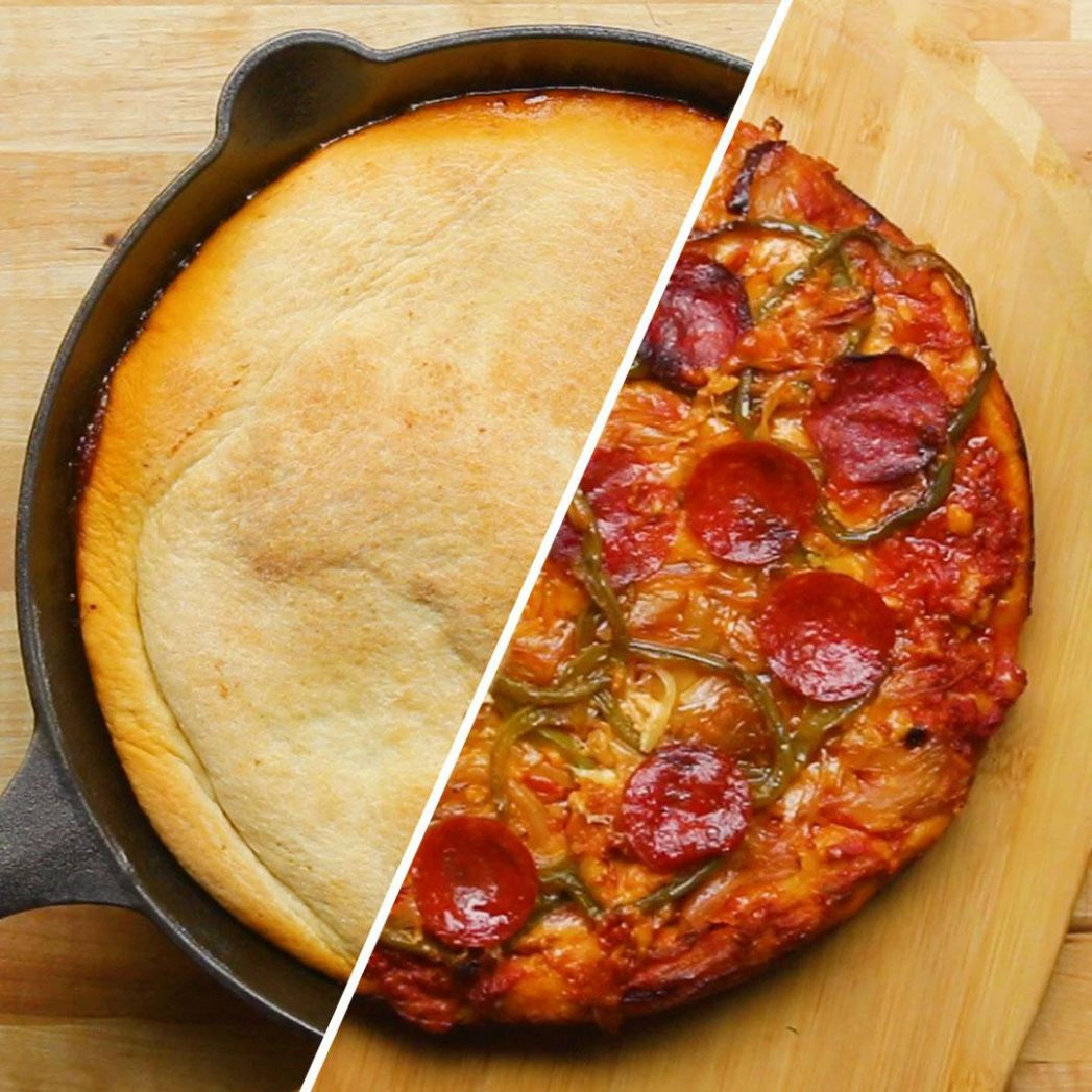 Upside Down One Pan Pizza Recipe by Tasty - Pizza Recipes Cast Iron Skillet